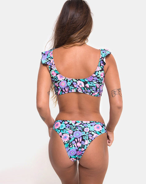 Bev Bikini Botton in Illuminated Floral By Motel