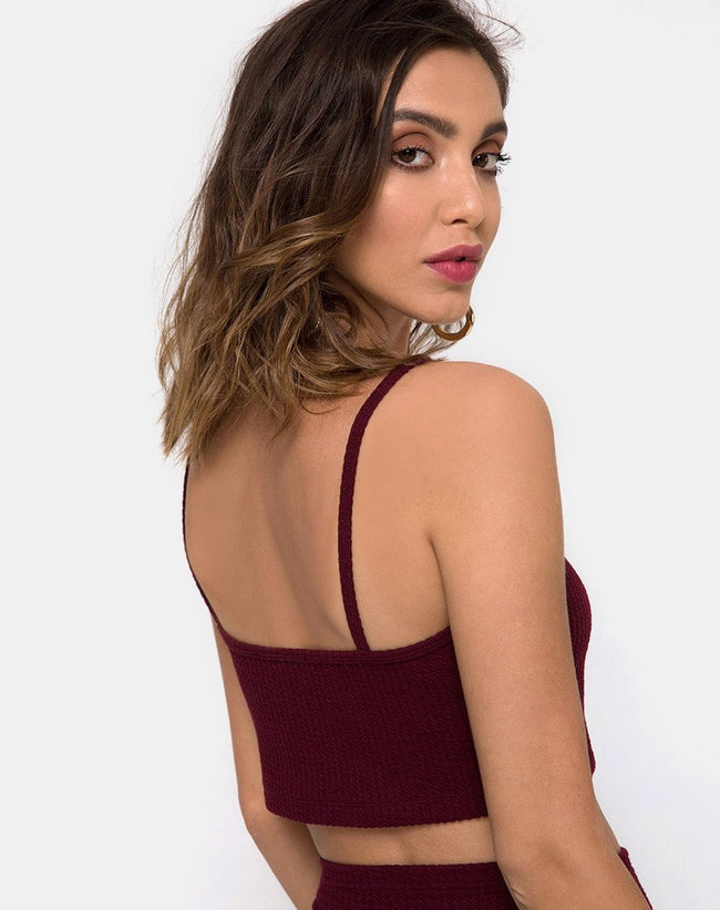 Bliss Crop Top in Burgundy By Motel