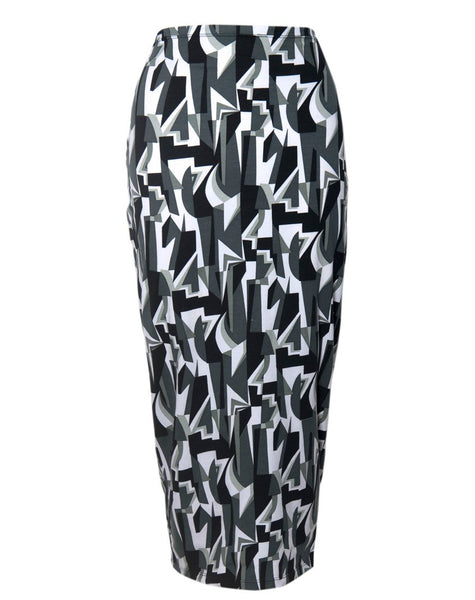 Motel Bobby Midi Skirt in Geo Pop Black and White