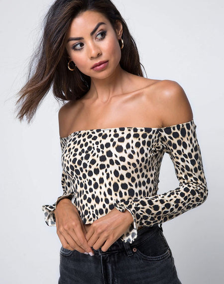 Loreen Highneck Bodice in Tiger Net Tan By Motel