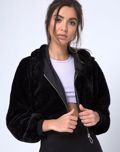 Bomb Hoody in Fur Zip Black by Motel
