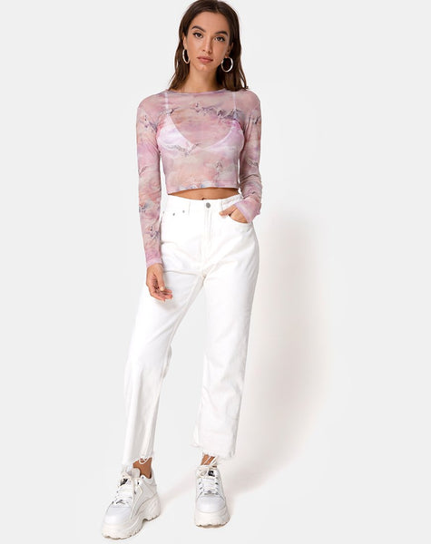Bonnie Crop Top in Pegasus Pink Mesh by Motel