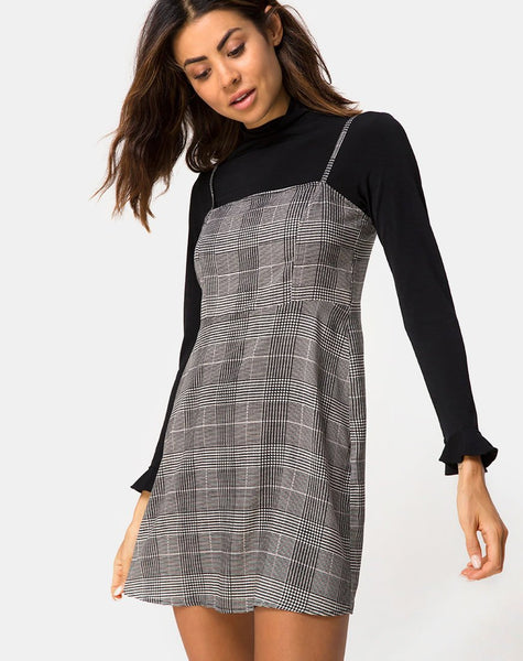 Boyasly Mini Dress in Charles Check Grey By Motel