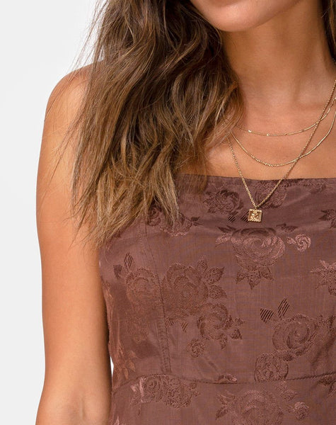 Boyasly Slip Dress in Satin Rose Chocolate by Motel