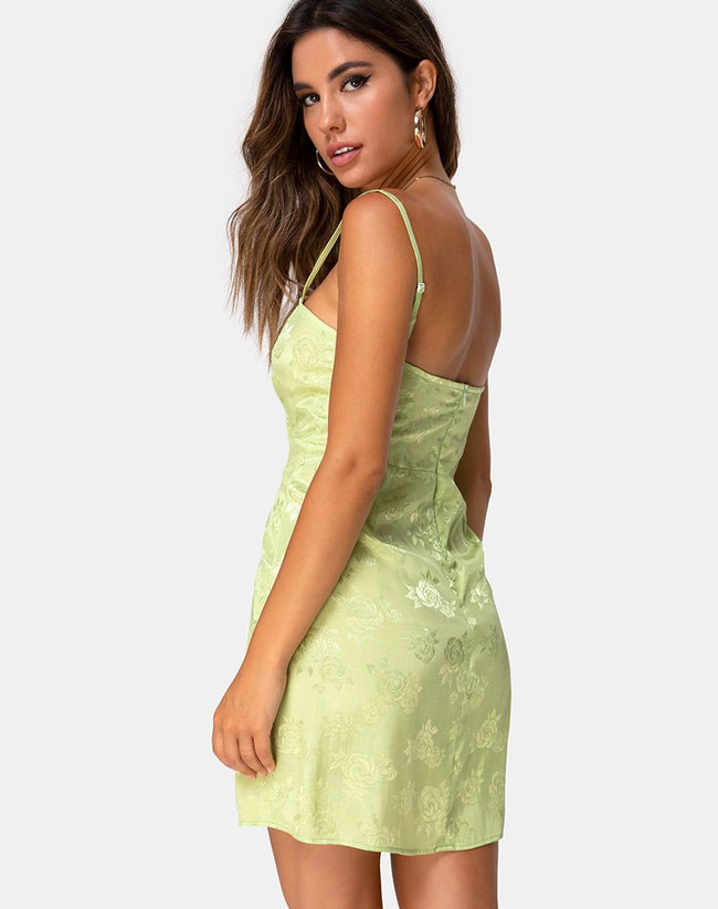 Boyasly Slip Dress in Satin Rose Lime by Motel