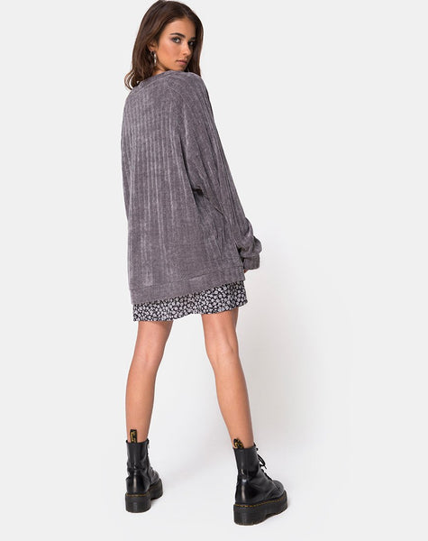 Boyfriend Cardigan in Chenille Grey by Motel