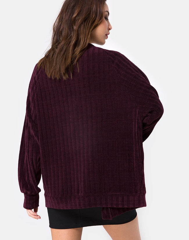 Boyfriend Cardigan in Chenille Plum by Motel