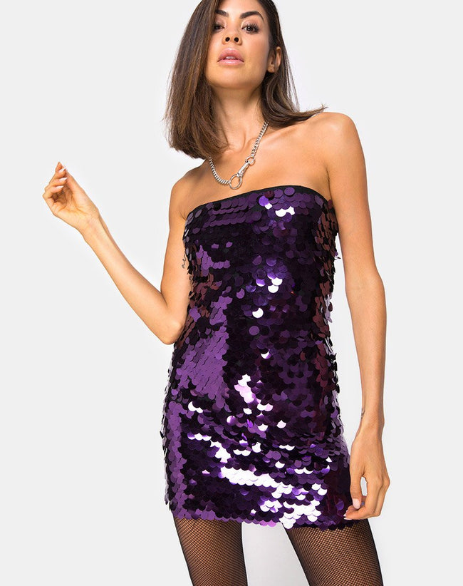 Breena Dress in Plum Disc Sequin by Motel
