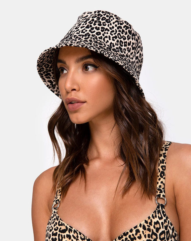 Bucket Hat in Rar Leopard Brown by Motel Hat
