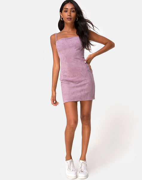 Burmay Dress in Faux Suede Lilac by Motel