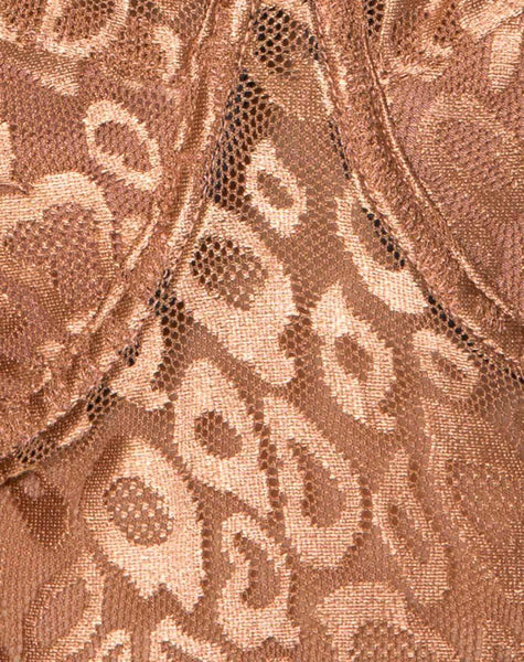 Calani Bodice in Leopard Sheen Net Caramel by Motel