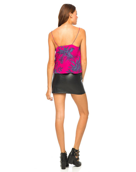 Motel Slim Cami Top in Two Tone Floral Raspberry