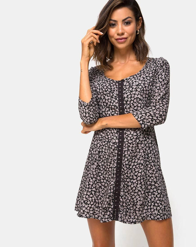 Camisa Swing Dress in Ditsy Rose Black by Motel
