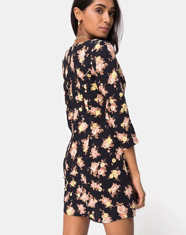 Camosa Swing Dress in Antique Rose Black by Motel