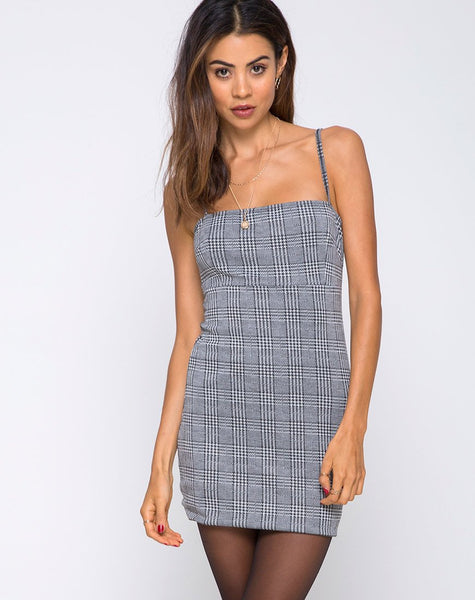 Cecile Slip Dress in Charles Check Grey by Motel