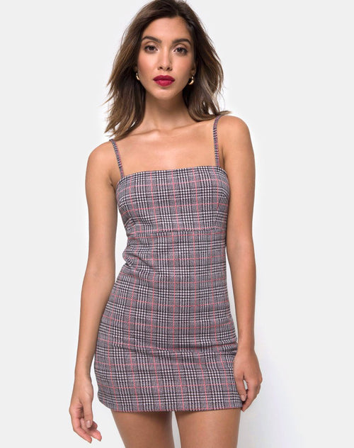 Cecile Dress in Charles Check Blush by Motel