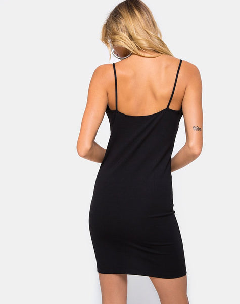 Cecy Bodycon Dress in Black with Hook and Eye by Motel