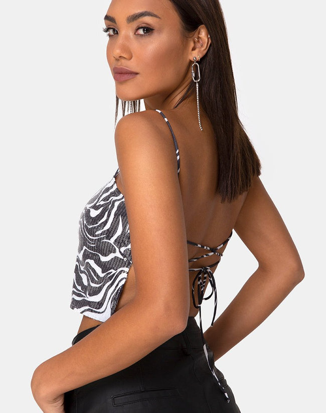 Champo Crop Top in Trippy Zebra Clear Sequin by Motel