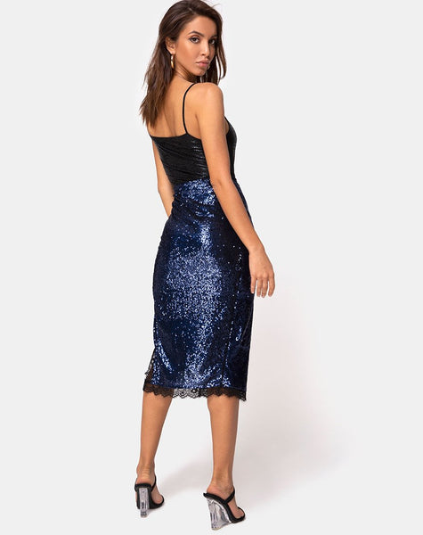 Chelo Skirt in Midnight Mini Sequin with Black Lace by Motel