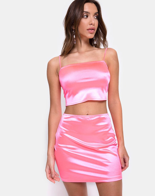 Cherry Skirt in Fluro Pink Satin by Motel