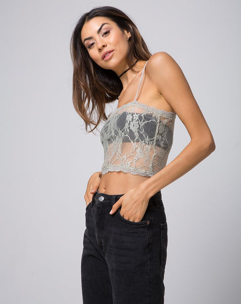 Chesa Crop Top in Daisy Lace Pistachio by Motel