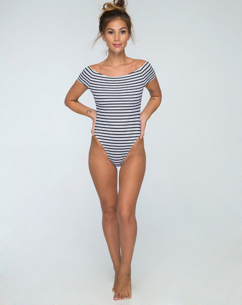 Cindy Off The Shoulder Swimsuit in Stripe by Motel