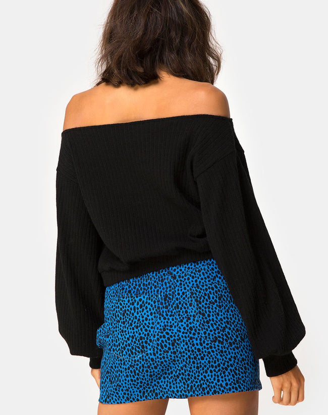 Saray Off The Shoulder Jumper in Black Knit By Motel