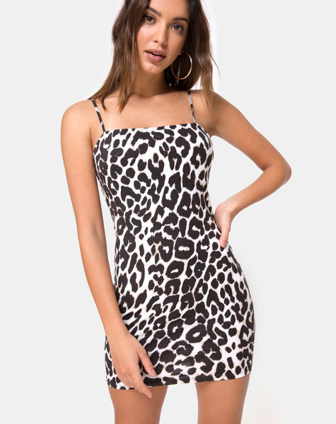 Cinelle Bodycon Dress in Oversize Jaguar by Motel