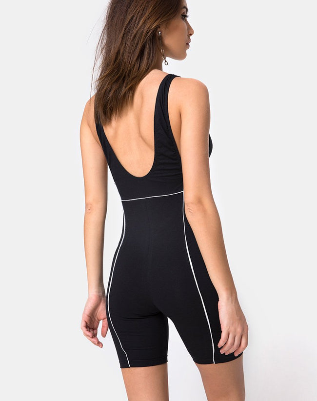 Coda Unitard in Black with Piping Line by Motel