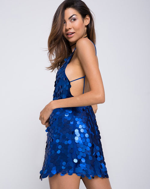 Corine Slip Dress in Cobalt by Motel