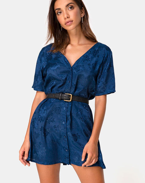 Crosena Dress in Satin Rose Navy by Motel