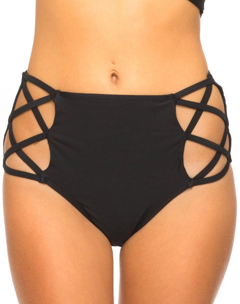 Crystal Cut Out Bikini Bottom in Black by Motel
