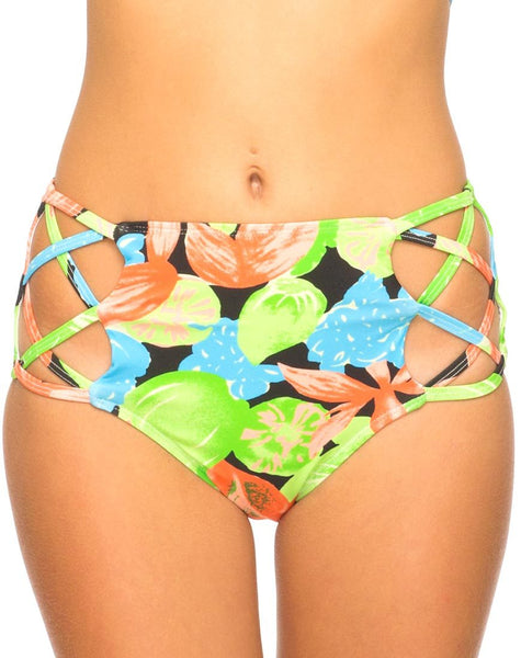 Crystal Cut Out Bikini Bottom in Tropicana by Motel
