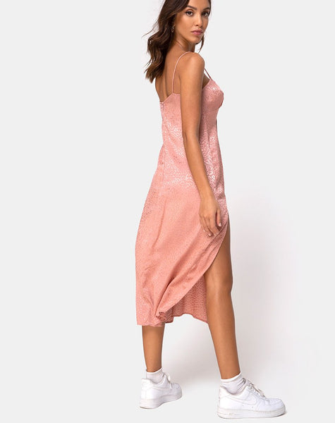 Cypress Dress in Satin Cheetah Dusty Pink by Motel