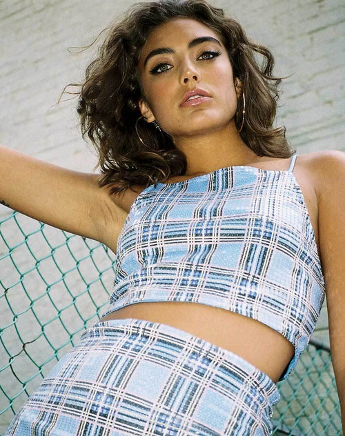 Barilla Crop Top in 90's Check with Clear Sequin by Motel