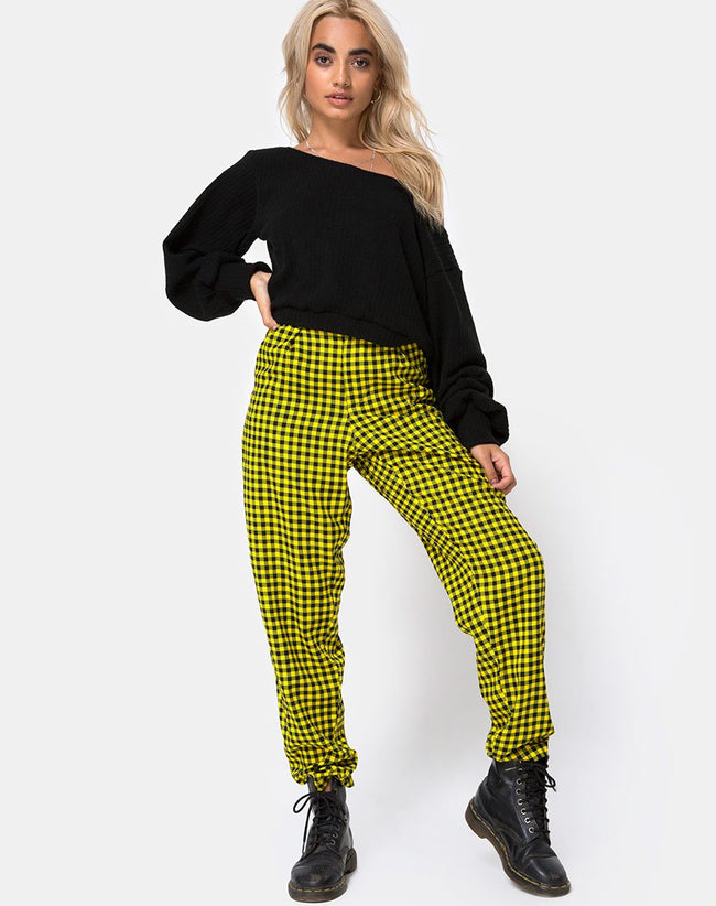 Dastan Trouser in Medium Gingham Yellow By Motel