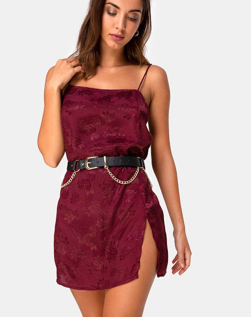 Datista Slip Dress in Satin Rose Burgundy by Motel