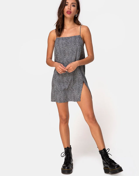 Datista Slip Dress in Ditsy Leopard Grey by Motel