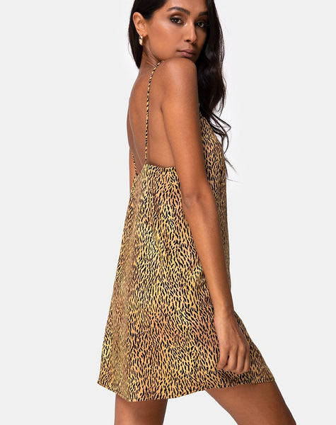 Datista Slip Dress in Mini Tiger Brown by Motel