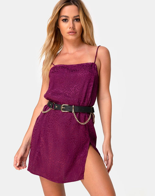 Datista Slip Dress in Satin Cheetah Grape by Motel