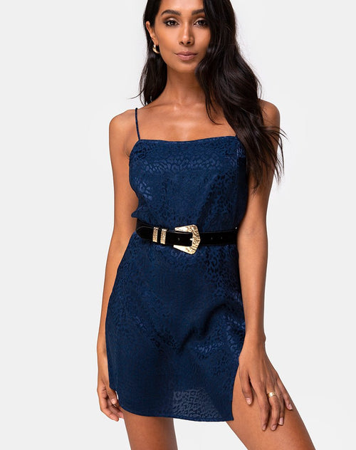 Datista Slip Dress in Satin Cheetah Navy by Motel