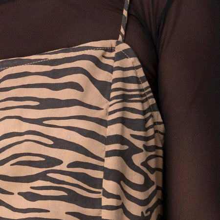 Datista Dress in 90's Zebra Taupe by Motel