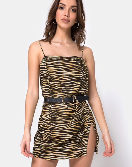 Balace Slip Dress in Rar Leopard with Black Lace by Motel