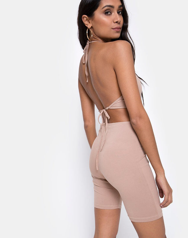 Dequa Cutout Unitard in Jersey Tan By Motel