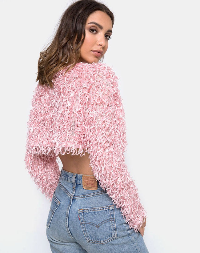 Diabla Crop Jumper in Shaggy Knit Sugar Pink by Motel