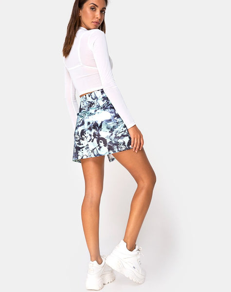Dina Mini Skirt in Mint Cherub by Motel