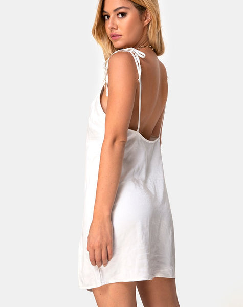Doella Slip Dress in Satin Ivory by Motel