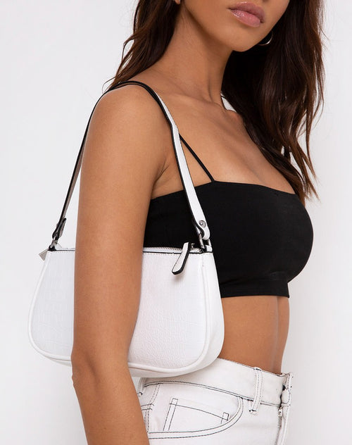Gigi Shoulder Bag in Croc White by Motel
