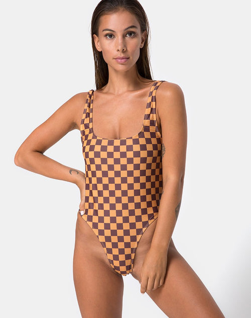 Drela Swimsuit in Mocha Checker by Motel