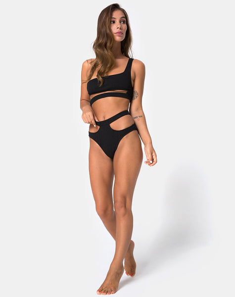 Drelins Bikini Top in Black Rib By Motel